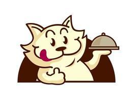 cartone animato lingua di gatto fuori che serve cibo con il pollice in su la mano vettore
