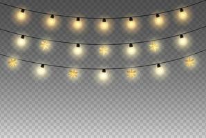 luci natalizie o celebrative isolate su sfondo trasparente set di ghirlande natalizie dorate incandescente lampada al neon led appesa vettore