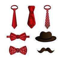 set di cravatte e accessori maschili vettore