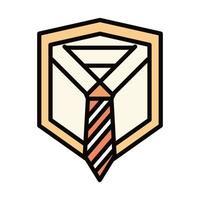 felice festa del papà camicia con cravatta biglietto di auguri linea celebrazione e icona di riempimento vettore