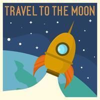 Illustrazione d'annata piana di vettore del manifesto di viaggio della luna dell'astronave