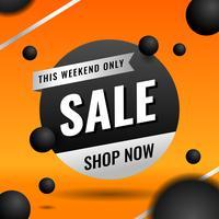 Modello arancio dell'insegna di vendita per gli elementi di vendita di affari vettore