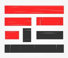 set di pezzi di nastri rossi e neri vettore