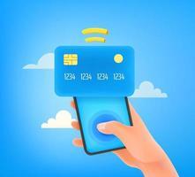 uomo che utilizza la carta di credito per il pagamento tramite smartphone vettore