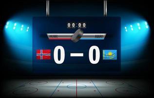stadio di hockey su ghiaccio illuminato con bandiere norvegia e kazakistan vettore