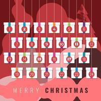 Conto alla rovescia per il calendario dell'avvento stampabile per il set di elementi natalizi
