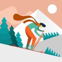 Sciatore dell'uomo piano nell'illustrazione di vettore di azione