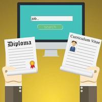 concetto di illustrazione vettoriale design piatto per la ricerca di lavoro online sul computer. concetti di mani che tengono diploma e curriculum cv