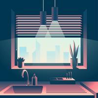 Vista del paesaggio urbano della finestra della cucina vettore