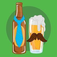 bottiglia di birra con cravatta e bicchiere con baffi vettore