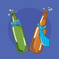 paio di bottiglie di birra con cravatta e papillon vettore