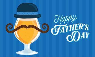 poster della festa del papà con un bicchiere di birra con una cravatta e un cappello vettore