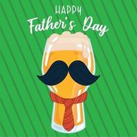 poster per la festa del papà con un bicchiere di birra con cravatta e baffi vettore