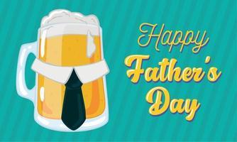 poster della festa del papà con un bicchiere di birra con una cravatta vettore