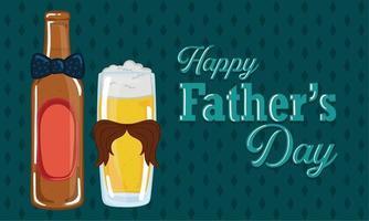 poster della festa del papà con un bicchiere e una bottiglia di birra con una cravatta vettore