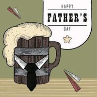 poster vintage per la festa del papà con boccale di birra in legno con schiuma e cravatta vettore