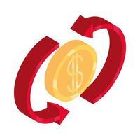 denaro isometrica contanti valuta cambio moneta stock isolato su sfondo bianco icona piatta vettore