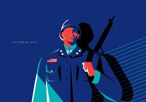 Fondo piano di vettore dell'illustrazione del soldato di concetto di giorno del veterano