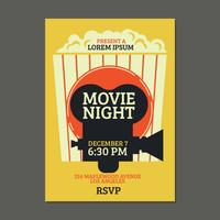 Cool Night Poster di notte con sfondo di popcorn vettore
