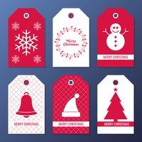 Insieme di tag regalo di Natale e Capodanno vettore