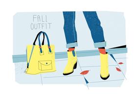 Stivali di caduta sull'illustrazione piana di vettore di stile delle attrezzature di autunno