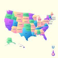 Vettore della mappa del punto di riferimento degli Stati Uniti d'America