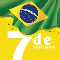Giorno dell'indipendenza del Brasile Bandiera nazionale sullo sfondo di colore giallo