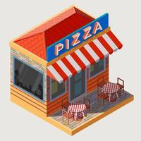 Pizza isometrica vettore