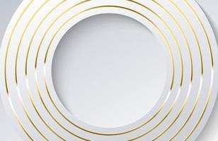 sfondo bianco moderno con elemento cerchio oro lucido. elegante design a forma di cerchio con vettore di linea dorata