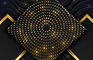sfondo geometrico nero astratto strutturato con glitter oro scintillante e linee ondulate. composizione con forme rettangolari vettore