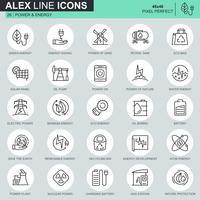 Set di icone del settore energetico linea sottile vettore