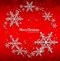 Cartolina d'auguri di Buon Natale con sfondo rosso fiocchi di neve