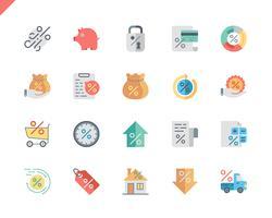 Icone piane di prestito stabilite semplici vettore