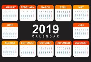 Calendario astratto colorato modello 2019 design vettore