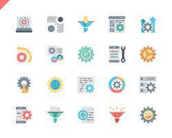 Icone piane semplici di elaborazione dati dell'insieme