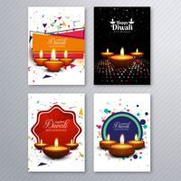 Vettore variopinto della raccolta del modello dell'opuscolo di diwali felice