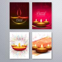 Fondo stabilito dell'opuscolo del modello della cartolina d'auguri elegante di diwali vettore