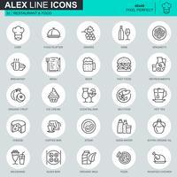 Set di icone di cibo e ristorante di linea sottile vettore