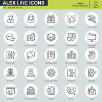 Set di icone di marketing e social network internet linea sottile
