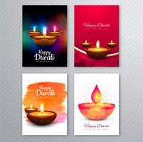 Manifesto con un diya per il collectio variopinto del modello dell'aletta di filatoio di diwali vettore
