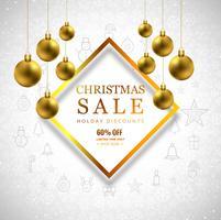 Fondo di vendita di Buon Natale con progettazione della palla di Natale vettore
