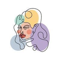 ritratto astratto di una donna in uno stile lineare moderno. arte linea continua. stampa minima di moda. illustrazione vettoriale