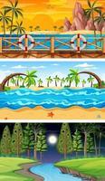 tre diverse scene orizzontali della foresta vettore