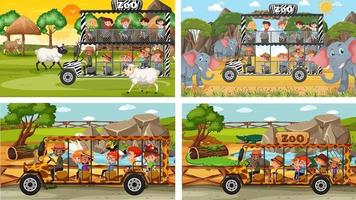 set di diversi animali in scene di safari con i bambini vettore
