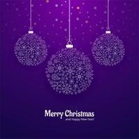 Cartolina d'auguri di Buon Natale con sfondo di palle di fiocchi di neve vettore