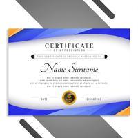 Disegno astratto colorato modello di certificato ondulato