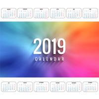 Vettore di modello di calendario colorato moderno 2019