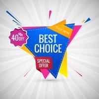 La migliore scelta vendita banner colorato disegno vettoriale