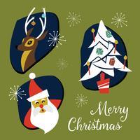 Collezione di distintivi ed elementi di Natale moderno di metà secolo. Vec