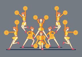 Squadre di ragazze cheerleaders sulla piramide finale stanno in piedi